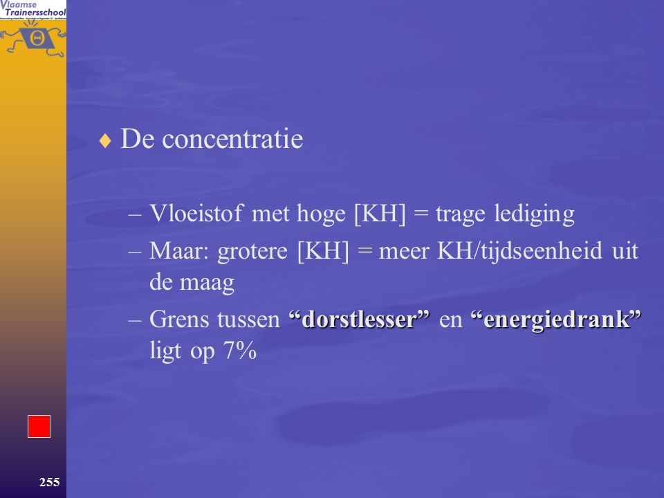De concentratie Vloeistof met hoge [KH] = trage lediging